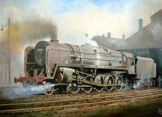 steam trains british in paintings -Dirty British Railways 9F 2-10-0 steam locomotive in 1966 www.railart.co.uk Riddles, British Railways standard class 9F freight locomotive in 1966.