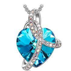 """Sivery """"Love Heart"""" pendant necklace Jewelry with crystal from Swarovski , the best gifts on Mother's DAY, Valentine's Day, Christmas, Anniversary, Birthday. Attention Away from chemicals Not wearing it while bathing No collision or Bruising Avoid sweat Scrub it with soft... more details available at https://perfect-gifts.bestselleroutlets.com/gifts-for-women/clothing-shoes-jewelry-gifts-for-women/product-review-for-sivery-love-heart-fashion-jewelry-neckla"""