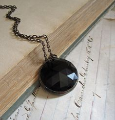 Midnight Faceted Glass Necklace Black Jewelry by ThatOldBlueHouse2