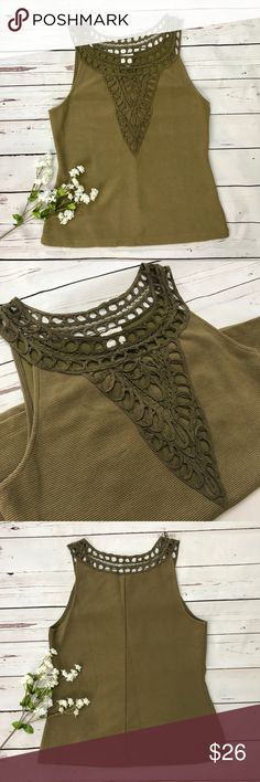 "Anthropologie Postmark Aicha Embellished Tank Top This Postmark for Anthropologie tank top features a textured polyester-acrylic embellished neckline detail that is just gorgeous. The tank's primary material is a thick ribbed olive green cotton-polyester blend that is ultra flattering. Size M. Measures 18"" from armpit to armpit // From shoulder to hem: 25"". Comes from a smoke-free home. Bundle and save! Anthropologie Tops Tank Tops"