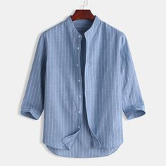 Men's Shirts Summer Casual Striped Stand Collar 7 Points Sleeve Button – joymanmall   casual dresses  womens summer dresses  outfit dress ca #dresses#dressescasualsummer#outfitsforwomen#sunmerdresses#stylewomen Casual Shirts For Men, Men Casual, Summer Dresses For Women, Denim Shirt, Latest Trends, Shirt Designs, Mens Tops, Clothes, Men's Shirts