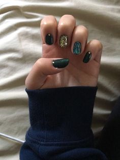 #darkgreen #nails #golden #glitter #marble #rhinestones #essie #anni