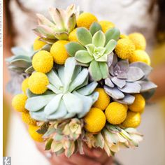 lovely succulent and yellow wedding bouquet
