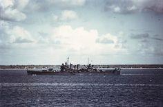 Brooklyn-class light cruiser USS Boise in a South Pacific port, circa late August 1942.