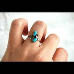 Sterling silver and turquoise Navajo ring vintage Sterling silver. Size 6 super cute on! Vintage! Polished since picture Free People Jewelry Rings