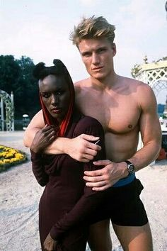 Grace Jones and Dolph Lundgren