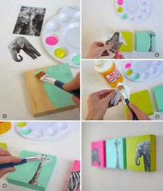 DIY nursery art - tutorial uses wood blocks, but could also use canvas Fun Crafts, Diy And Crafts, Crafts For Kids, Arts And Crafts, Mod Podge Crafts, Decor Crafts, Wood Crafts, Diy Nursery Decor, Nursery Art