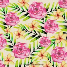 Watercolor flores tropicais fundo