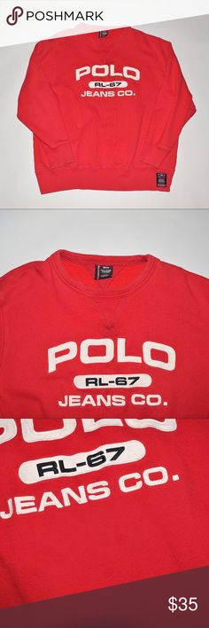 90's Vintage Polo Ralph Lauren Crewneck Sweater Brand: Vintage Polo Ralph Lauren Item name: Vintage Polo Jeans Men's Crewneck Sweater   Color: Red Condition: This is a pre-owned item. There is a couple small stain that is barely noticeablewithout the camera flash (see photo) and a very small stain on the right cuff but otherwise is in greatcondition with no rips, holes, etc. Comes from a smoke free household. Size: Large Measurements: Pit to Pit - 26 inches Shoulder to bottom - 28…