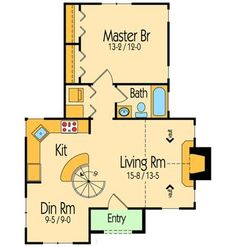 Itty Bitty Cottage House Plan First Floor Plan Narrow Lot, Cottage, Vacation House Plans & Home Designs Br House, Tiny House Cabin, Tiny House Living, Tiny House Design, Home Design, Villa Design, Cottage House Plans, Tiny House Plans, Cottage Homes