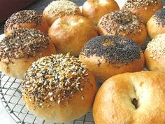 """Bagels for Babies by kingarthurflour: Think toddlers sitting in the shopping cart, happily gnawing their way through a chewy bagel half as mom shops. This recipe makes cute little 3 1/2"""", 2 1/2-ounce bagels, over a third smaller than normal bagels. #Bagels #Babies"""