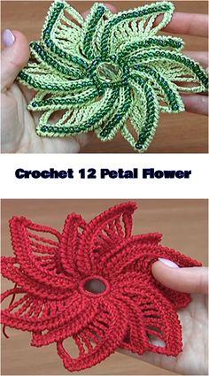 Crochet 12 Petal Flower - We Love Crochet Crochet Flower Hat, Crochet Flower Tutorial, Crochet Flower Patterns, Love Crochet, Crochet Gifts, Beautiful Crochet, Crochet Yarn, Easy Crochet, Knitting Patterns