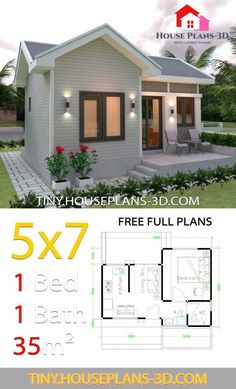 smallhousedecorating in 2020 One bedroom house plans Guest house plans Small house design plans