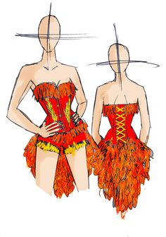 Phoenix costume corset and booty shorts with feathers for cosplay, fancy dress, Halloween. Made to measure by LyndseyBoutique on Etsy https://www.etsy.com/listing/202619070/phoenix-costume-corset-and-booty-shorts