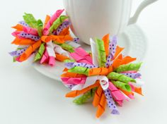Curly Korker Puff Hair Bows Colorful Bows Baby by SheWearsitWell, $11.99