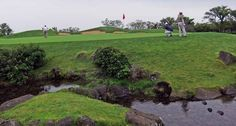 "Pinx Golf Club on South Korea's Jeju Island was design by the ""King of Waterscapes"", Ted Robinson (Robinson Ranch, LA). It is made up of three nine-hole courses and is located between the iconic landmarks Marado Isalnd in the south and Han-ka Mountain to the north. http://www.globaltravelerusa.com/jeju-island-south-korea-pinx-golf-club-west-and-north-courses/ (Photo © Fran Gallagher)"