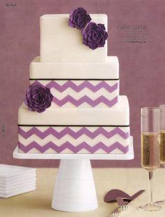 Purple chevron wedding square cake (similar to what I want) Square Wedding Cakes, Floral Wedding Cakes, Square Cakes, Purple Wedding, Purple Party, Cupcakes, Cupcake Cakes, Cupcake Ideas, Chevron Cakes