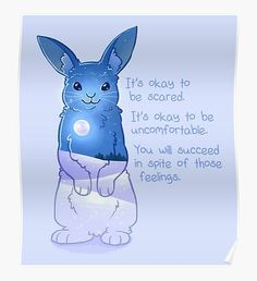 """'""""It's Okay to Be Scared"""" Night Snow Rabbit' Sticker by thelatestkate Inspirational Animal Quotes, Cute Animal Quotes, Uplifting Quotes, Cute Quotes, Cute Animals, Handy Wallpaper, Wallpaper Iphone Cute, Cute Animal Drawings, Cute Drawings"""