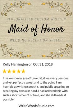 short and sweet maid of honor speech