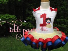 Snow White Birthday Collection- Red/yellow/blue- Includes top, ribbon tutu and hairbow- More princesses available- BEAUTIFUL QUALITY on Etsy, $63.99