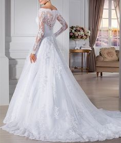 Lovelybride Women's Off-shoulder Long Sleeves Appliques Wedding Dress for Bridal at Amazon Women's Clothing store: