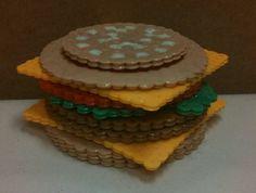 3D Cheeseburger perler beads by Katie Bradley