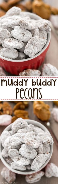 Muddy Buddy Pecans are an easy recipe that's perfect for parties, holidays, or parties! Chocolate and peanut butter covered pecans, doused in powdered sugar!