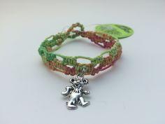 Neon Grateful Dead Dancing Bear Macrame Hemp Bracelet (0090) by HemptressDesigns on Etsy