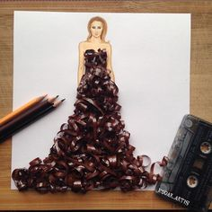 Armenian Fashion Illustrator Creates Stunning Dresses From Everyday Objects Pics) -this one is made from a cassette tape! Fashion Design Drawings, Fashion Sketches, Arte Fashion, Fashion Pics, Style Fashion, Girl Fashion, Fashion Illustration Dresses, Fashion Illustrations, Illustration Mode