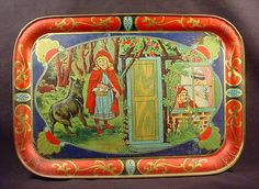 Circa 1900 Little Red Riding Hood Child's Tin tray.