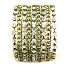 "Just Give Me Jewels Goldtone Rhinestone Multi Chain Stretch Bracelet Just Give Me Jewels. $19.95. Goldtone wide stretch bracelet. Fits most wrist size. 1.75"" wide. Multi-chain and rhinestone design. Save 23% Off!"