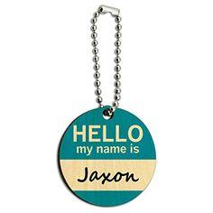 Jaxon Hello My Name Is Wood Wooden Round Key Chain - http://www.cwebmarket.com/women/women-accessories/keyrings-keychains/jaxon-hello-my-name-is-wood-wooden-round-key-chain/