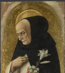 Carlo Crivelli - San Domenico, dettaglio; pannello Polittico del 1476 (o Polittico di San Domenico o, impropriamente, Polittico Demidoff) - 1476 - National Gallery di Londra