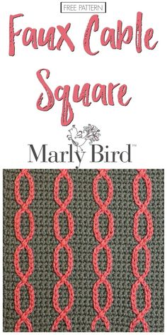 Crochet Granny Square Design Free Crochet Pattern Faux Cable Square by Marly Bird - The Free Crochet Pattern Faux Cable Square is a fairly simple pattern that utilizes strategically placed spaces to make it easy to add slip stitches Crochet Motif Patterns, Granny Square Crochet Pattern, Crochet Squares, Crochet Designs, Stitch Patterns, Granny Squares, Afghan Patterns, Heart Patterns, Crochet Granny