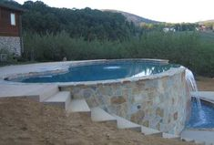 Inground Pool On Sloped Yard Unique Pin by Adrianne Calderon On Outdoor Spaces Sloped Yard, Sloped Backyard, Small Backyard Pools, Small Pools, Backyard Ideas, Infinity Pool Backyard, Desert Backyard, Hillside Pool, Hillside Landscaping