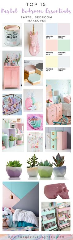 """Pastel Bedroom Essentials is a Pastel Aesthetic Guide w/ Source List & Inspiration Board for a Pastel Bedroom Make over >>See original post: _______ ______ https://www.thehappyplanters.com/single-post/2017/07/30/PASTEL-BEDROOM-MAKEOVER ___ > > >Pastel Home Decor easy steps to Create the Pastel Unircorn Look you are dreaming about """"Pastel Minimalism""""< < <___"""