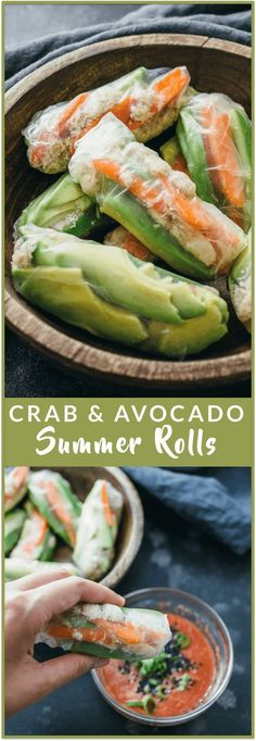 Crab and avocado summer rolls - Bite into these crab and avocado summer rolls! This Vietnamese and Thai inspired recipe has crab meat, sliced avocado, cucumber, and carrots wrapped together in a summer roll with a spicy red dipping sauce. Its an easy and Healthy Recipes, Healthy Dishes, Asian Recipes, New Recipes, Healthy Eating, Cooking Recipes, Crab Recipes, Appetizer Recipes, Dinner Recipes