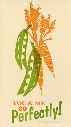 Peas and Carrots I really like the simplicity of this print. Plus, hand carved blocks. Linocut Prints, Poster Prints, Posters, Taro Plant, Things That Go Together, Illustrator, Art Courses, Food Illustrations, Love And Marriage