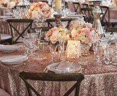 Dusty Rose Quartz SEQUIN Tablecloth Select Your Size!  Sequin Overlays,Gatsby Wedding,Glam Wedding,Vintage Weddings,Rose Gold Wedding by VowWowDecor on Etsy https://www.etsy.com/listing/195297641/dusty-rose-quartz-sequin-tablecloth