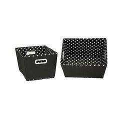 Two Toned Small Tapered Bins: Black with Mini Dots