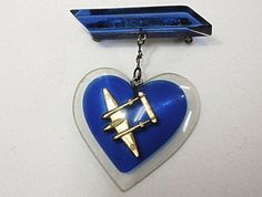 WWII Heart with Bomber brooch, not surprisingly, from WWII