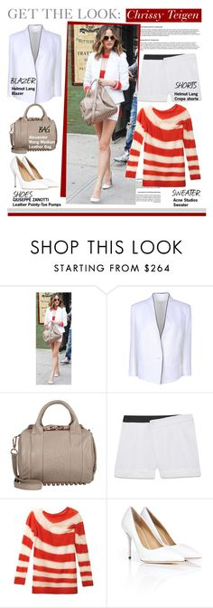 """""""Get The Look-Chrissy Teigen"""" by kusja ❤ liked on Polyvore featuring Alexander Wang, Helmut Lang, Giuseppe Zanotti, women's clothing, women, female, woman, misses, juniors and GetTheLook"""