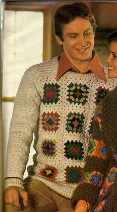 Men's Granny Square Sweater. VintagVibesPatterns, via Etsy.