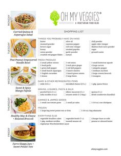 Vegetarian Meal Plan & Shopping List - Includes Curried Quinoa & Asparagus Salad, Healthy Mac & Cheese, Farro Sloppy Joes & 2 more meatless meal ideas!