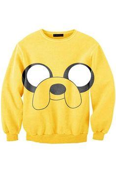 127c8811 Yellow Cartoon Monster Sweatshirt Fresh Tops, Jake The Dogs, Dog Sweaters,  Crewneck Sweaters