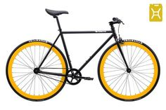 Matte Black frame with Yellow deep dish wheels.