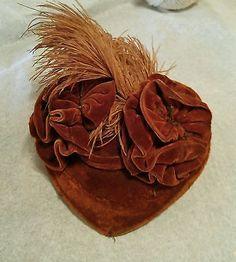 Antiguidade/Veludo Seda Chapéu Vitoriano Para Biscuit Alemão Antigo Ou Boneca Francesa