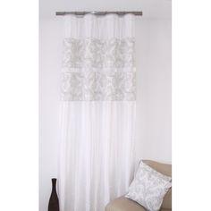 Štýlový záves k prehozom bielej farby s jemným sivým motívom Curtains, Shower, Home Decor, Rain Shower Heads, Blinds, Decoration Home, Room Decor, Showers, Draping
