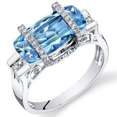 Peora.com - 14 Kt White Gold 4 cts Swiss Blue Topaz and Diamond Ring R61760, $609.99 (http://www.peora.com/14-kt-white-gold-4-cts-swiss-blue-topaz-and-diamond-ring-r61760/)