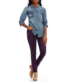 eggplant purple jeans + chambray shirt